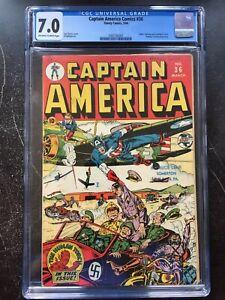 CAPTAIN AMERICA COMICS #36 CGC FN/VF 7.0; OW-W; classic Shores German WWII cvr!