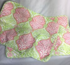 2 Cynthia Rowley Quilted Pillow Sham Pink Lime Green Floral Striped Pair Set