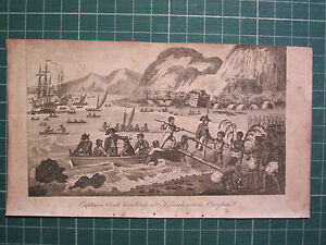 1806 PRINT CAPTAIN COOK VOYAGES ~ LANDING at KARAKAROOA OWYHEE