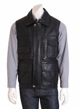 Leather Patternless Big & Tall Casual Waistcoats for Men