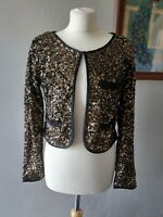 NEXT GIRLS STUNNING SPARKLY SEQUIN PARTY GOLD BOLERO JACKET TOP 15 YEARS  14 16