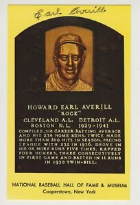 Earl Averill Autographed Yellow Hall of Fame Plaque Card