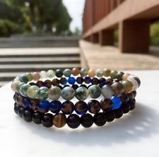 Piedra natural 3 un. con cuentas pulsera, de Ojo de Tigre, Jaspe Cuentas De Ágata Azul Elástico