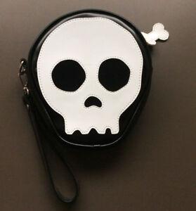 SKULL AND BONE White On Black Coin Zipper Purse NEW Goth Rock Punk Heavy Metal