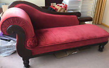 More details for beautiful handmade chaise longue red velvet dark carved  wood