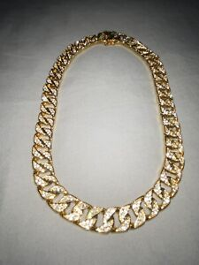 Gold Stainless Steel Cuban Link Blinged Out Chain Cubic Zirconia Ice 12.5mm