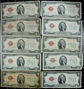 (10 pc) LOT OF CIRCULATED MIXED SERIES 1928 $2 RED SEAL LEGAL TENDER U.S. NOTES
