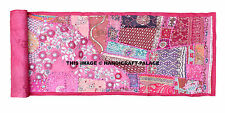 Pink Table Top Runner Wall Hanging Vintage Indian Decor Embroidered Tapestries