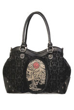 BANNED BLACK FLOCKED CAMEO SKULL ROSE SHOULDER BAG HANDBAG BLACK TATTOO GOTH NEW
