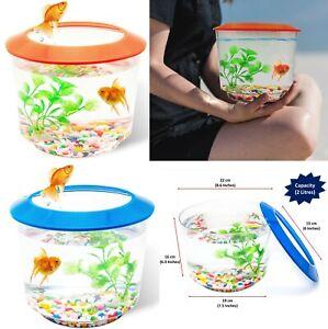 Goldfish Small Fish Bowl Fish Tank Starter Kit Aquarium Gravel Ornamental Plant