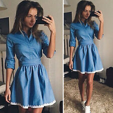 Women's Denim Shirt Dress Long Sleeve Casual Lapel Jeans Skirts Mini Dresses US
