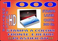 1000 BIGLIETTI DA VISITA A COLORI 300GR STAMPA FRONTE E RETRO PLASTIFICATI - HD