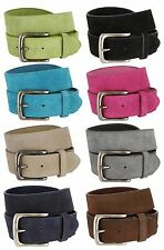 "Suede Casual Jean Belt With Silver Buckle, 1 1/2"" Wide - Multi Colors!"