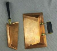 ANTIQUE SIGNED MANNING BOWMAN QUALITY MERIDIAN, CONN COPPER CRUMB TRAY & SCRAPER