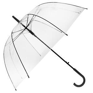 Large Clear See Through Dome Umbrella Ladies Transparent Walking Rain Brolly