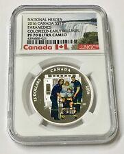 2016 Canada $15 3/4 oz Silver National Heroes Paramedics PF 70
