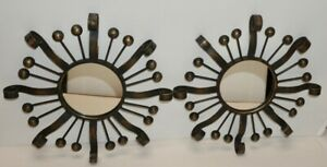 PAIR OF SUN BURST WALL MIRRORS ~ IRON WITH METALLIC ACCENTS ~ 12 inches across