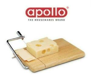 APOLLO HEVEA WOOD CHEESE SLICER BOARD WITH WIRE WOODEN CHESSE CUTTING BOARD