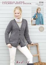 Sirdar 9746 Knitting Pattern Ladies Raglan Cardigans in Super Chunky With Wool
