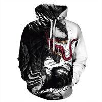 Marvel Venom Black Red White Zip Hoodie Jacket Sweatshirt Unisex Casual Pullover