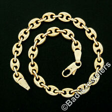 "Italian MILOR 18k Yellow Gold 7.5"" 5mm Puffed Gucci Link Chain Bracelet 6.34g"
