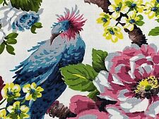 SALE! Fabulous Birds & Roses Barkcloth Vintage Fabric Unused Old Stock PILLOWS