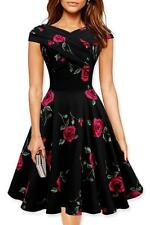 Women's Elegant Rose Floral Print Sexy Party Cocktail Wiggle Flare Swing Dresses