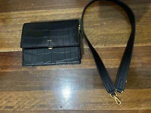JW Pei Black Mini Flap Bag Black Croc