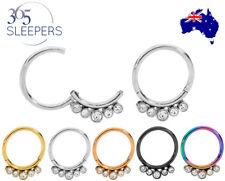 365 Sleepers 1 Pair 16G Steel Gem Hinged Hoop Huggie Sleeper Earrings