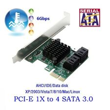 PCIe PCI Express to 6G SATA3.0 4-Port SATA III Expansion Controller Card Adapter