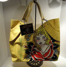 Ed Hardy Yellow Vinyl Veronica Large Tote Bag by Christian Audigier 1971