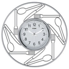 Orologio da parete in acciaio inox Trabo Brunch cucina bianco Diametro 27cm