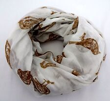 Bird lover's scarf wrap white brown soft fabric rectangle