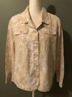 Croft & Barrow Womens Button Down Jacket Top Size L/XL Beige Ivory Floral