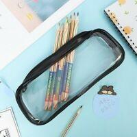 Clear Pencil Case Makeup Pouch Pen Bag Zipper Stationery Cosmetics Storage Bags