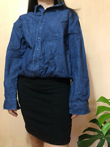 Zara TRF Longsleeved Buttondown Blouson Style Demin Top Black Mini Dress US Med