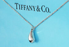 Tiffany & Co Elsa Peretti Colgante Lágrima Collar de Plata de Ley