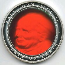 Pope John Paul II Peace On Earth  Frosted Proof Silver Medal Hologram