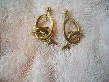 DOLPHINS Vtg. Goldtone Clip On Dangle EARRNINGS w Crystal Eyes Avon New Grt Gft