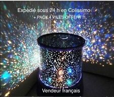 Veilleuse projecteur d'étoiles pour chambre enfant + Pack 4 Piles Philips offert