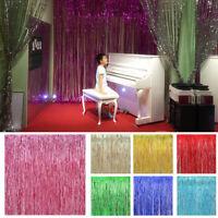 Shiny Metallic Fringe Foil Tinsel Curtain Wedding Door Party Home Decor Hot