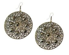 Antique Silver Large Hoop Drop Dangle Earrings Circle Round Crystal Women Girls