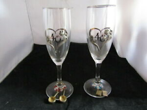 40th Anniversary Wine Glasses With  Wine Charms