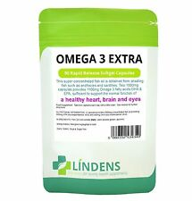 Lindens Omega 3 aceite de pescado extra 1000mg 90 cápsulas de concentrado de alta resistencia
