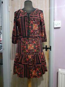Rainbow Cold Shoulder Mini Dress 10/12 boho hippy