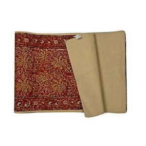 """World Market 100% Cotton Table Runner Red Tan Gold Tapestry 90"""" Luxury Decor"""