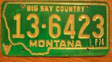 SINGLE MONTANA LICENSE PLATE - 1973/74 - 13-6423 - BIG SKY COUNTRY