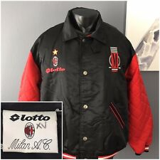 Vintage AC Milan football Soccer jacket Size XL lotto spellout Made in Italy