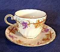 Aynsley Tea Cup And Saucer - Purple Grapes And Vines - Scalloped Rims - England