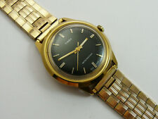 VINTAGE 1979 TIMEX MARLIN BLACK DIAL GOLD PLATED GENTS 37mm WRISTWATCH VGC